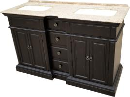 58 Inch Double Sink Bathroom Vanity with a Distressed Black Finish