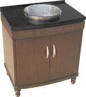 32 Inch Single Sink Bathroom Vanity With A Dark Brown Finish