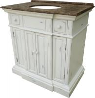 36 Inch Single Sink Bathroom Vanity with an Off White Finish