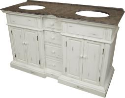 58 Inch Double Sink Bathroom Vanity with an Off White Finish