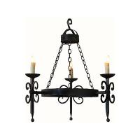 3 Light Hand Forged Wrought Iron Chandelier