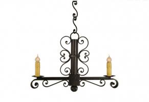 2 Light Colonial Wrought Iron Chandelier