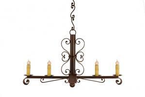 4 Light Colonial Wrought Iron Chandelier