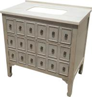 36 Inch Single Sink Bathroom Vanity with a Distressed Gray Finish