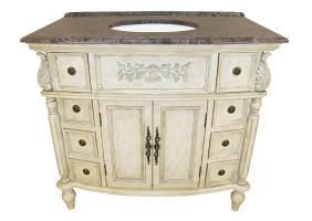 39 Inch Single Sink Bathroom Vanity with a Brown Marble Top