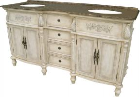 67 Inch Double Sink Bathroom Vanity with a Brown Marble Top