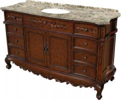60 Inch Single Sink Bathroom Vanity in Mahogany