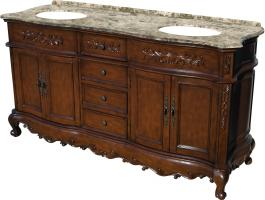 67 Inch Double Sink Bathroom Vanity in Mahogany