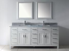 73 Inch Double Bathroom Vanity in White with a Choice of ...