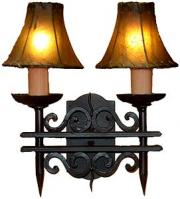 2 Light Hand Forged Wrought Iron Wall Sconce