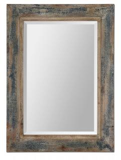 Rustic Distressed Blue Bathroom Wall Mirror 28 X 38 Inch On Sale
