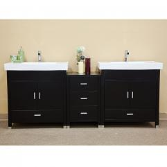 81 Inch Modern Black Double Sink Bathroom Vanity
