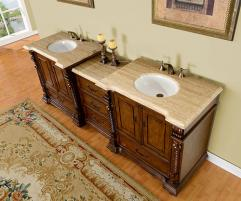 92 Inch Double Sink Bathroom Vanity In Brazilian Rosewood