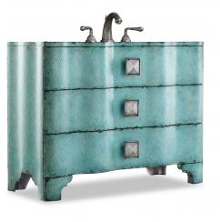 44 Inch Turquoise Single Sink Bathroom Vanity Hand Painted