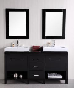 Bathroom Vanity Double Sink on 60 Inch Double Sink Bathroom Vanity With Open Shelves Uvdedec091b60