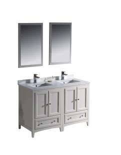 Clearance 48 inch double sink bathroom vanity in antique - 48 inch white bathroom vanity with top ...