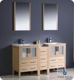 Unique Bathroom Lighting on 60 Inch Double Sink Bathroom Vanity In Light Oak With Ceramic Top