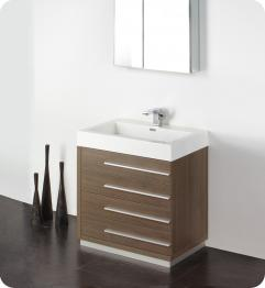 Bathroom Cabinets on 30 Inch Gray Oak Modern Bathroom Vanity With Medicine Cabinet
