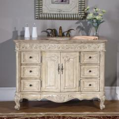 48 Inch Single Sink Vanity With Antique White Finish And