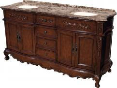 67 Inch Furniture Style Double Bathroom Vanity in Mahogany