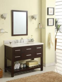 42 Inch Single Sink Modern Cherry Bathroom Vanity With