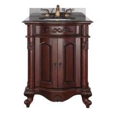 25 inch single sink bathroom vanity withantique cherry