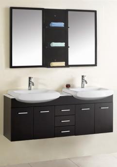 59 inch modern double sink bathroom vanity espresso uvvu305959 - How deep is a standard bathroom vanity ...