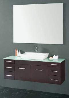 56 Inch Single Sink Espresso Wall Mount With Accessories