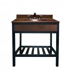 Bathroom Vanity on 36 Inch Single Sink Bath Vanity With Integrated Copper Counter Top