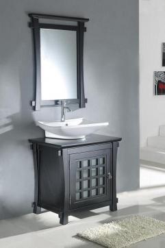 30 Inch Modern Vessel Sink Bathroom Vanity In Dark Walnut Uvlf301230