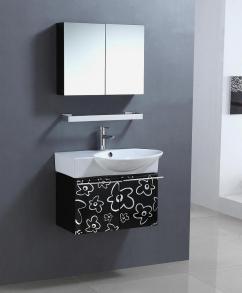 ... Wall Mount Single Sink Bathroom Vanity in Black and White UVLF315430