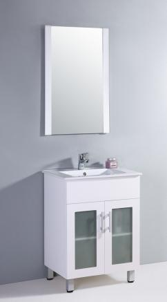 24 inch single sink bathroom vanity in white with a white ceramic top