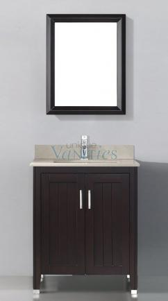 28 inch single sink bathroom vanity with choice of top in chai
