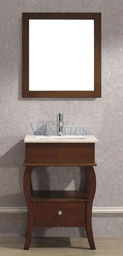 24 Inch Cherry Console Single Sink Bath Vanity With Marble
